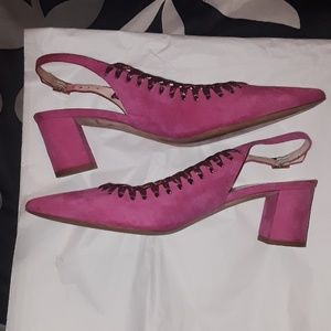 Kate spade hot pink sling back pointy shoes